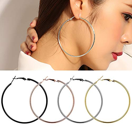 Classic Big Circle Smooth Large Hoop Earrings For