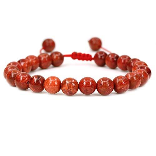 AMANDASTONES Natural Red Coral Gemstone 8mm Round Beads Adjustable Braided Macrame Tassels Chakra Reiki Bracelets 7-9 inch Unisex