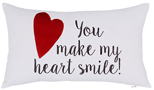 ADecor Pillow Covers You make my heart smile Pillowcase Embroidered Pillow cover Decorative Pillow Standard Cushion Cover Gift Love Couple Wedding (12X20, Heart smile (Ivory)) (Newport Pillow Covers)