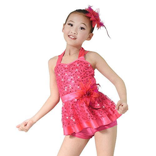 MiDee Dance Costume Jazz & Tap Outfits 2 Pieces Halter Sequin (IC, Fuchsia)