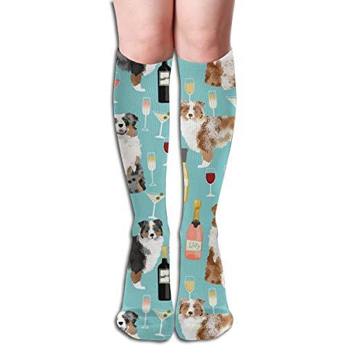 (Australian Shepherd Dog Dogs And Wine Design Light Blue Unisex Knee High Long Socks Over Calf Casual Sport Stocking)