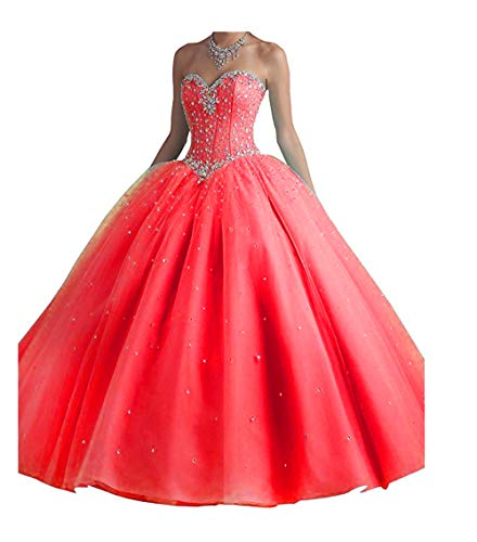 XIA Women's Shiny Beaded Ball Gowns Long Tulle Quinceanera Prom Dress with Shawl Red -