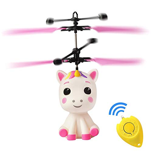 Flying Unicorn Toys Robot RC Helicopter for Kids,Mini Drone Infrared Induction by Hand Flying Ball with Remote Control,Glow in Night