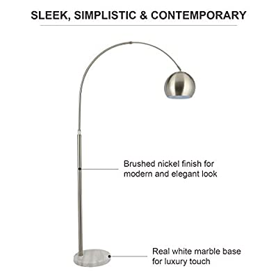 CO-Z Modern Arc Floor Lamp with 360° Rotatable Shade, Adjustable Nickel Finished Standing Reading Light with Stable Marble Base, Contemporary Arch Metal Pole Lamp with LED Bulb for Living Room Safa
