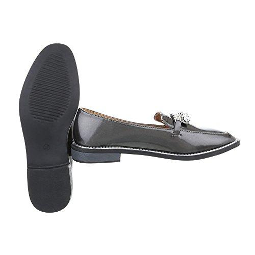 Grau Halbschuhe Schuhe Damen Slipper Schuhcity24 4qz7S7