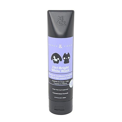 Rufus & Coco 2 in 1 Bright White Wash Concentrate Shampoo and Conditioner, 6.76 fl. oz. (Light Coat Color Brightener)