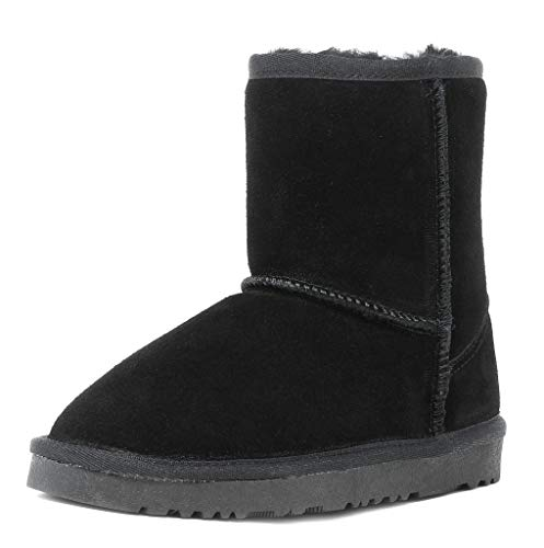 DREAM PAIRS Little Kid Shorty-K Black Sheepskin Fur Winter Snow Boots Size 13 M US Little Kid
