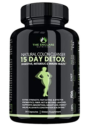 DETOX COLON CLEANSE FOR WEIGHT LOSS. 15 Day Fast-Acting Detox Pills, Extra-Strength with Natural Laxatives, Probiotic, Fiber: Constipation Relief, Reduce Bloating, Boost Energy, Focus & Immune Support