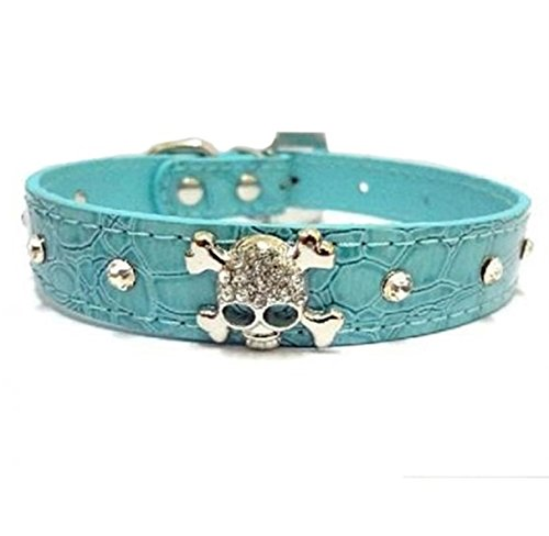 1 Set Crystal Skulls Rhinestone Dog Collar Small Pet Puppy Animal PU Leather Soft Elastic Bow Bell Tag First-class Popular Large Wide Reflective Safety Breakaway Training Camo Kitten Collars, Type-01