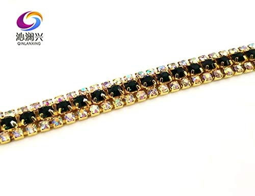 Pukido 1 Yard 3 Rows Glass Crystal Rhinestone Chain,Gold Bottom sew on Cup Chains for DIY Garment Bags Decorations - (Color: Deep Green)