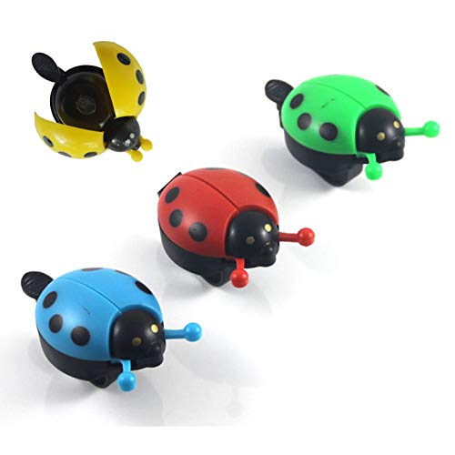 wSelio Mini Bike Bell for Kids Boys Toddlers, Cute Ladybird Children's Bike Accessory, Loud Crisp Clear Sound for Bike 4PC (E-Multicolor)