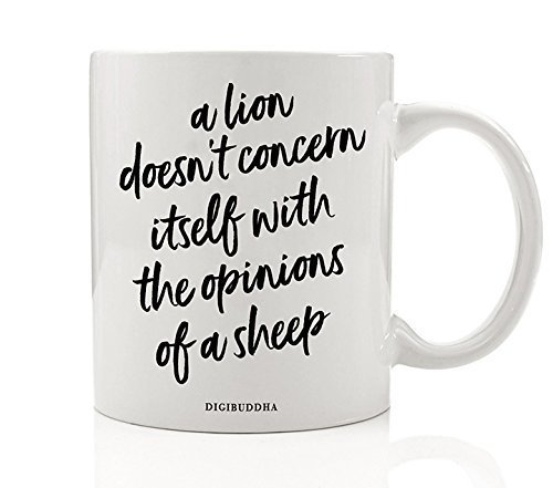 GOT Fan Mug Gift Idea, Tywin Lannister Quote A Lion Doesn't Concern Itself with the Opinions of A Sheep, Strength Powerful Leader Christmas Birthday Boss Lady 11oz Ceramic Coffee Cup Digibuddha DM0221 by Digibuddha