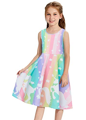 Funnycokid Girls Unicorn Dress Junior Teen Sleeveless Maxi Dresses Rainbow Stripe Graduation ()