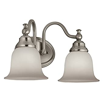 Portfolio 2 Light Brandy Chase Brushed Nickel Bathroom Vanity Light