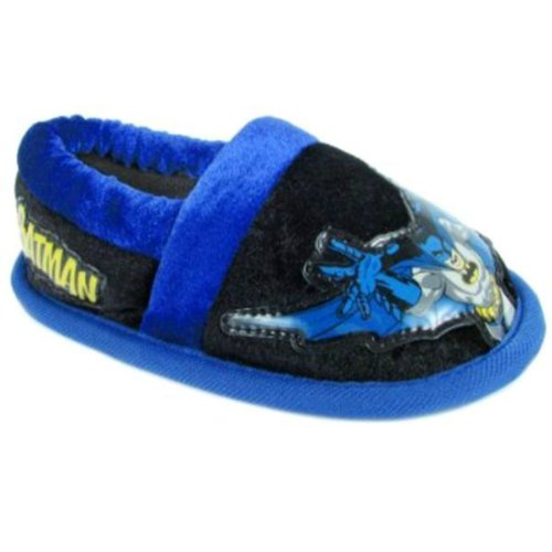 Dc Comics Superman or Batman Kids Slippers (Large 9/10, Batman Black) (Bat Slippers Pink)