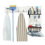 Wall Control 10-LAU-200 WB Laundry Room Organizer Wall Mounted Storage and Organization Standard Kit with White Wall Panels and Black Accessories