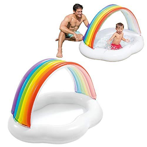 419Q0JfjyWL. SS500 La primera piscina de tu peque, con la piscina hinchable para bebé Intex la diversión está asegurada El hinchable mide 142x 119x84 cm y está fabricado en vinilo resistente de 0,25 mm de grosor Tiene un colorido parasol con forma de arcoíris y una capacidad para 82 litros, tras llenar la piscina el nivel agua llega a los 13 cm