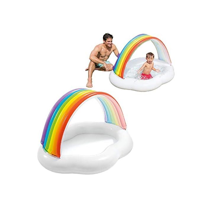 419Q0JfjyWL La primera piscina de tu peque, con la piscina hinchable para bebé Intex la diversión está asegurada El hinchable mide 142x 119x84 cm y está fabricado en vinilo resistente de 0,25 mm de grosor Tiene un colorido parasol con forma de arcoíris y una capacidad para 82 litros, tras llenar la piscina el nivel agua llega a los 13 cm