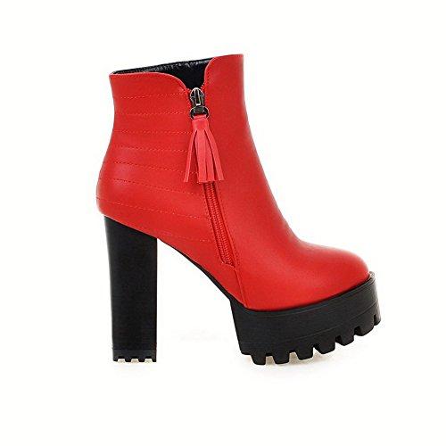 AllhqFashion Mujer ntera Redonda Cremallera Sólido Tacón Alto Botas Rojo