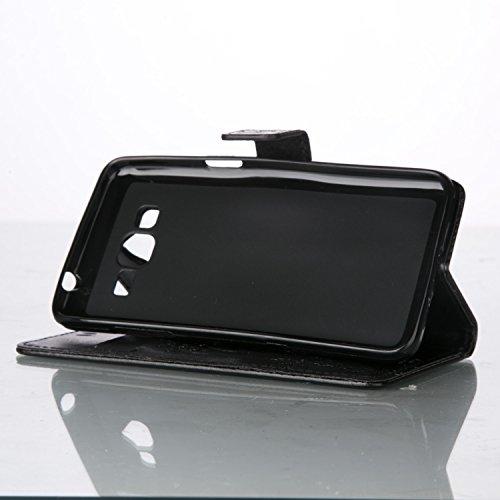 JIALUN-Personality teléfono shell Funda Samsung Galaxy G386, estuche retro de folio con caja de folletos y correa de mano Funda Protecitve Shell para Samsung Galaxy G386 Seguridad y Moda ( Color : Ros Black