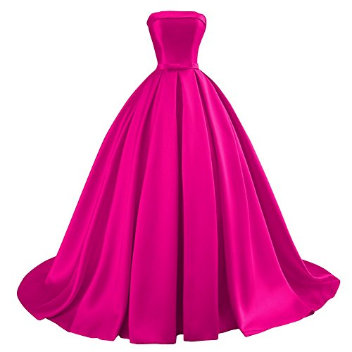 Bess Bridal Women's Ball Gowns Lace Up Long Formal Prom Evening Dress with Bow US10 Fuchsia