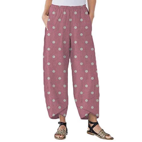 Dot Velour Pant - Plus Size Casual Lantern Long Pants Women Split Dot Print Loose Beach Trousers Pink