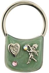 1928 Jewelry Green Enamel Angel Love Key Ring