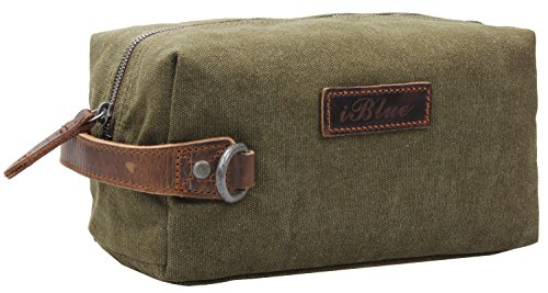 (Iblue Travel Toiletry Bag Canvas Leather Bathroom Shaving Dopp Kit i526(army green))