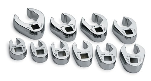 SK 4508 SuperKrome 10 Piece 3/8-Inch Drive 3/8-Inch to 1-Inch Flare Nut Crowfoot Wrench Set (Wrench Fractional Crowfoot Set)