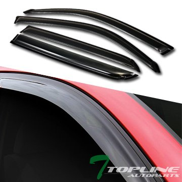 Topline Autopart Sun/Rain Guard Smoke Vent Shade Deflector Window Visors 4Pc 01-07 Toyota - Sequoia Toyota Vent