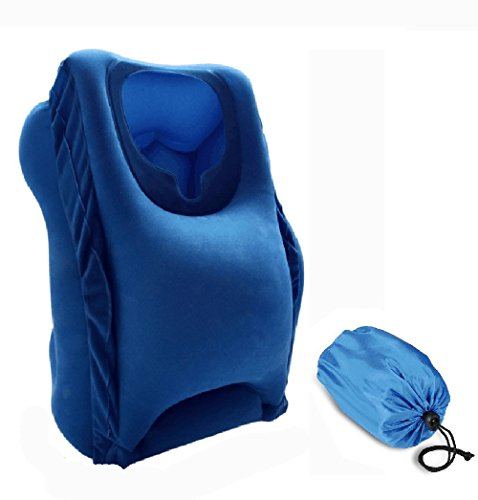 Inflatable Travel Pillow, FaceCradle Portable Head Neck Rest Pillow, Airplane Multifunctional Neck Pillow Full Body and Head Support for Office, Cars, Trains and Home, Soft PVC Flocking (Blue)