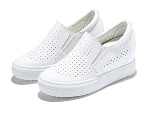 XIE Señora Zapatos De Cuero Pequeños Zapatos Blancos Estudiantes Ocio De Fondo Grueso Red Cómodo Escuela De Compras, White, 35 WHITE-39