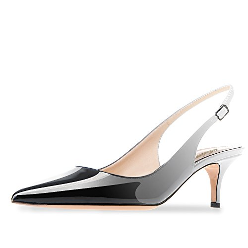 Modemoven Women's Patent Leather Pointed Toe Slingback Ankle Strap Kitten Heels Pumps Evening Stiletto Shoes 6.5CM Gray Black