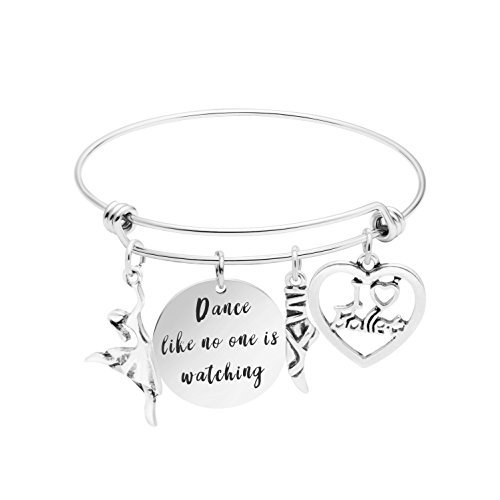 Expandable Bracelet Adjustable Wire Bangle Jewelry Inspiraitonal Gifts for Women Charm Pendant (Dance Like no one is Watching)