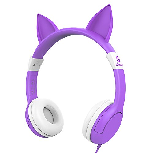 Crown Headset Microphone - iClever BoostCare Kids Headphones, Cat-inspired Wired On-Ear Headsets with 85dB Volume Limited, Food Grade Silicone Material, 3.5mm Audio Jack Cable, Halloween and Christmas Gift for Children, Purple