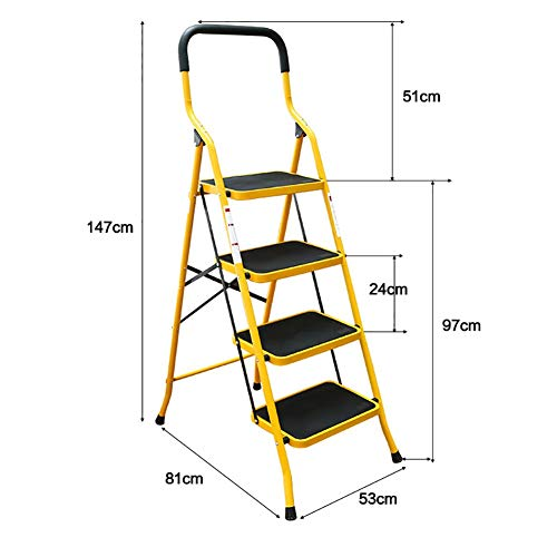 Boyishengshi Iron Anti-Skid Ladder Folding Stool with Chair with Anti-Slip Pedal Outdoor Portable Footstool/Ladder/Storage Rack/Flower Stand ()