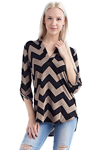 Betsy Red Couture Women's And Plus Size Soft Knit Notch Neck Tunic Top (L, Kahki/Black Chevron)