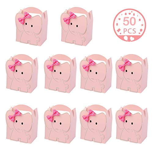 Baby Shower Favor Bags And Boxes (OurWarm 50pcs Cute Elephant Baby Shower Favor Boxes, 3D Large Baby Girl Gift Candy Boxes with Pink Bowtie for Baby Shower Party Supplies Baby Girls Birthday Decorations)