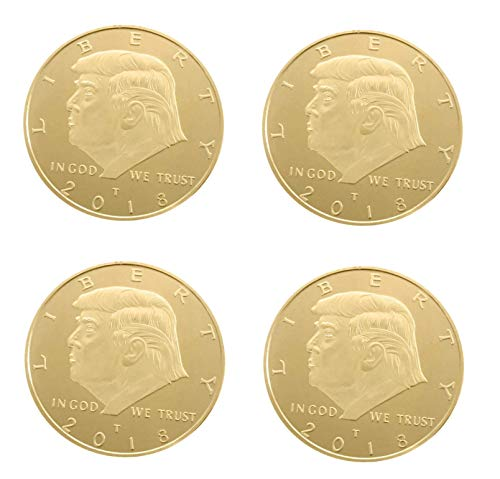 Astra Gourmet 4pcs The Official 2018 Gold Donald Trump Commemorative Coin - Authentic 24k Gold Collectible Coin of 45th United States President[CASE Included]