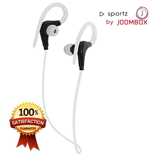 SPORTZ Bluetooth Headphone Wireless Earpods Earphones with Mic by JOOMBOX for iPhone iPad Mac Android Windows-White/Black