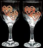 Celtic Glass Designs Set of 2 Hand Painted Wine Glasses in a Red Celtic Double Love Knot Design.