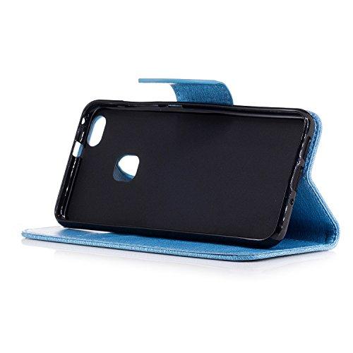 YAJIE-Carcasa Funda Para Huawei P10 Lite Case, [Oso de peluche de dibujos animados en relieve serie] PU funda de cuero con funda protectora con correa / ranura para tarjeta / soporte ( Color : Pink ) Blue