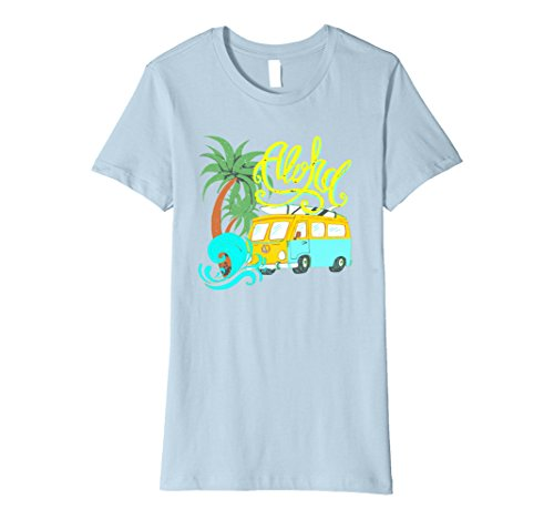 Womens Aloha Vintage Look Distressed Camper Surf T-Shirt Small Baby Blue