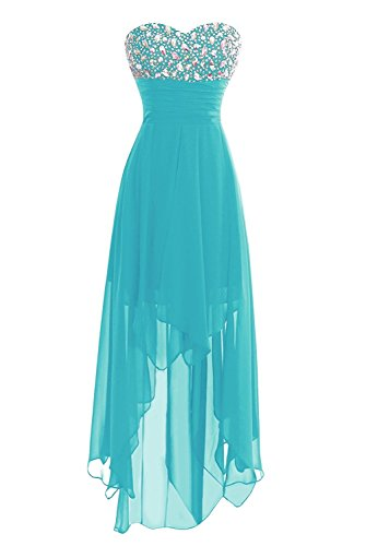Women's Chiffon Sweetheart Hi-Lo Bridesmaid Dresses Evening Party Prom Gown Turquoise US12 ()