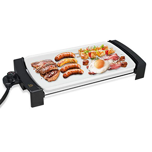 Electric Griddle Non-Stick, Smokeless Kitchen Electric Griddle with Drip Tray & Temperature Control for Indoor/Outdoor, 10