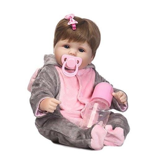 Nicery Reborn Baby Doll Soft Simulation Silicone Vinyl Cloth Body 18inch 45cm Lifelike Vivid Boy Girl Toy for Ages 3+ Nicery-RD45C070LW]()