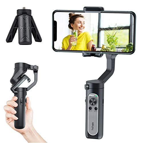 Hohem Isteady X, 3-Axis Gimbal Stabilizer for Smartphone, Foldbale Phone Gimbal Handheld Stabilizer, Ultra-Light Weighted w/Auto Inception Dolly Zoom, Upgraded Anti-Shake 3.0 Algorithm (Black)