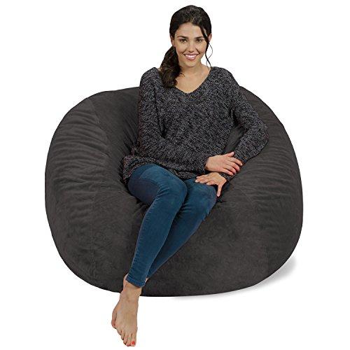 Bag Bean Chair Gray (Chill Sack Bean Bag Chair: Giant 4' Memory Foam Furniture Bean Bag - Big Sofa with Soft Micro Fiber Cover - Grey Furry)