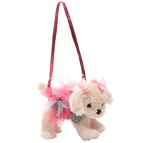 - Poochie Poochie and Co. Girls Plush Handbag - Maltipoo with Pink Disco Dots and Glitter Rainbow Tutu