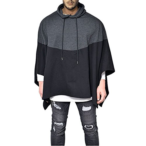 Mens Irregular Loose Bat Sleeves Oversized Plus Size Hooded Poncho Cloaks Casual Pullover Hoodie Cape Coat Tops (US Large(Tag (Sleeve Hooded Poncho)